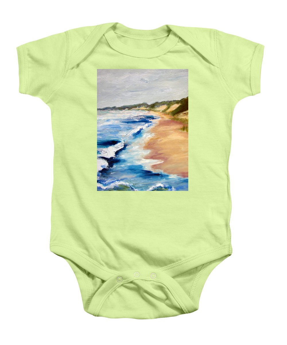 Whitecaps Baby Onesie featuring the painting Lake Michigan Beach With Whitecaps Detail by Michelle Calkins