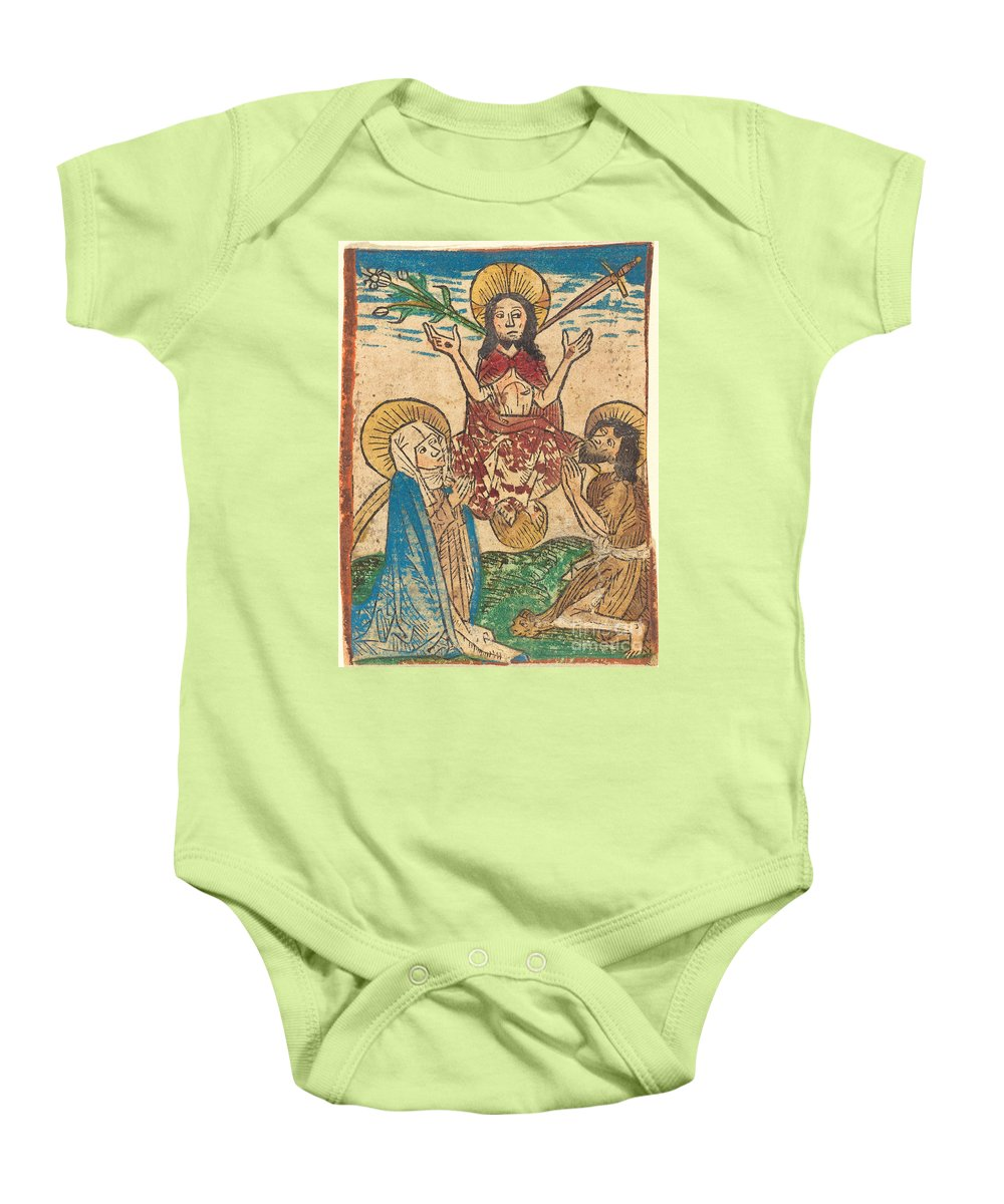 Baby Onesie featuring the drawing Last Judgment by German 15th Century