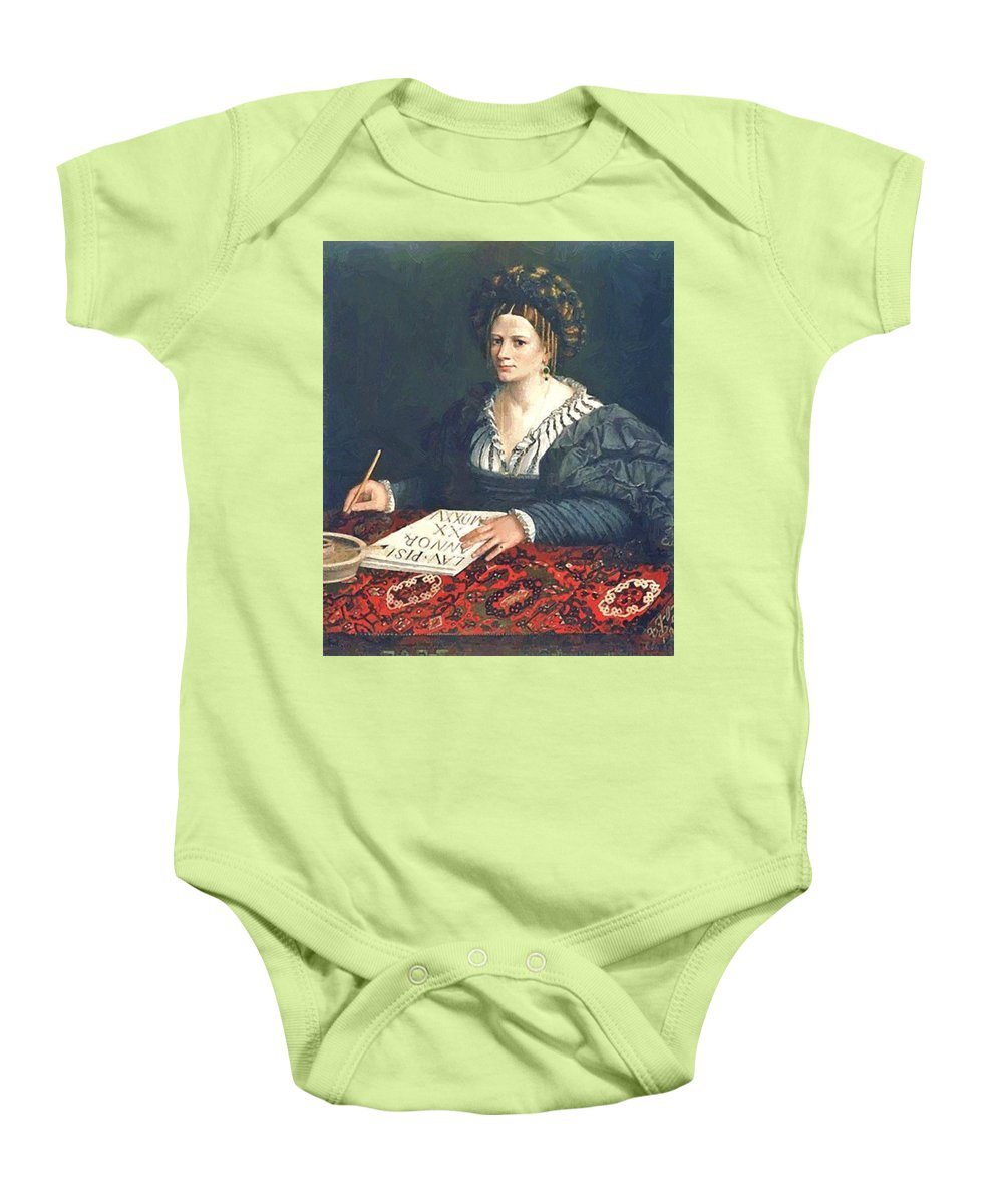 Laura Baby Onesie featuring the painting Laura Pisani 1525 by Dossi Dosso