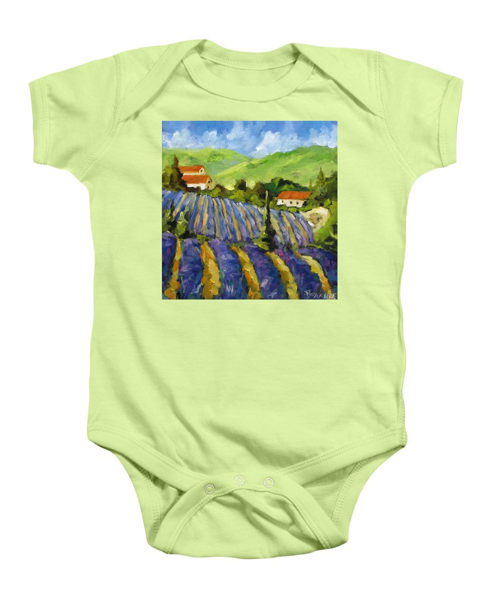 Art Baby Onesie featuring the painting Lavender Scene by Richard T Pranke
