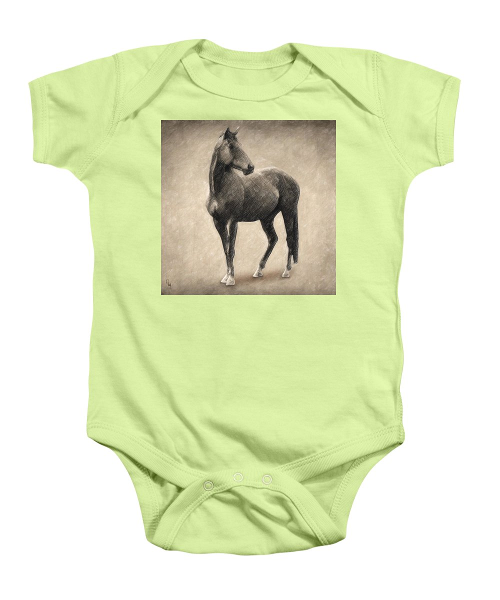 Horse Baby Onesie featuring the drawing Le Cheval by Zapista