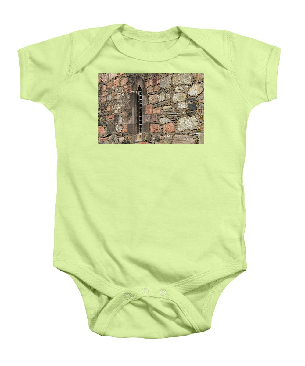 Isle Of Iona Baby Onesie featuring the photograph Leaded Nunnery Window by Bob Phillips