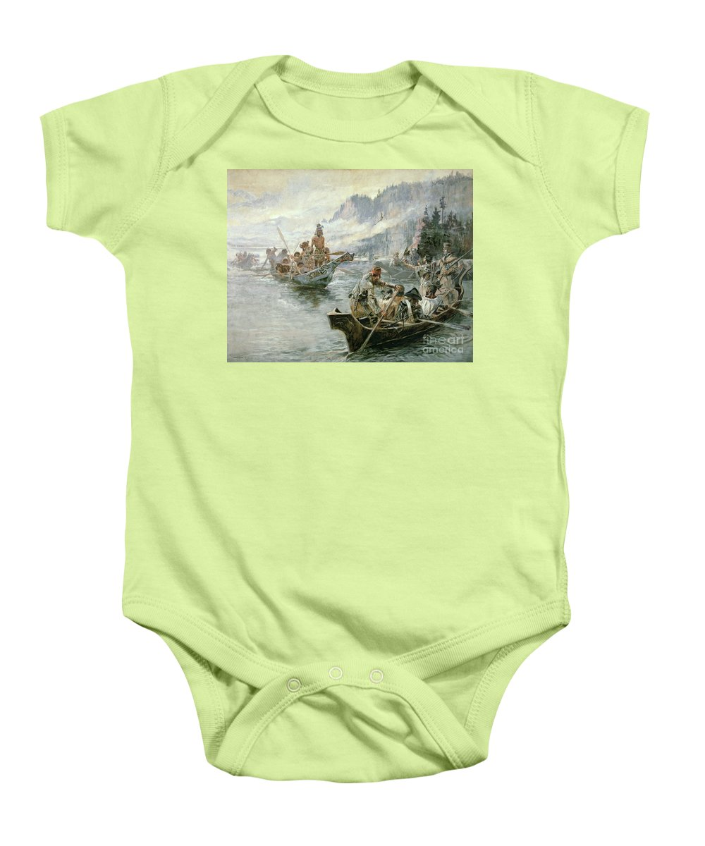 Rivers Baby Onesie featuring the painting Lewis And Clark On The Lower Columbia River by Charles Marion Russell