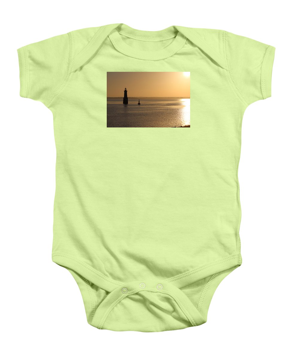 Lighthouse Baby Onesie featuring the photograph Lighthouse At Sunrise by Infinityblu Studio