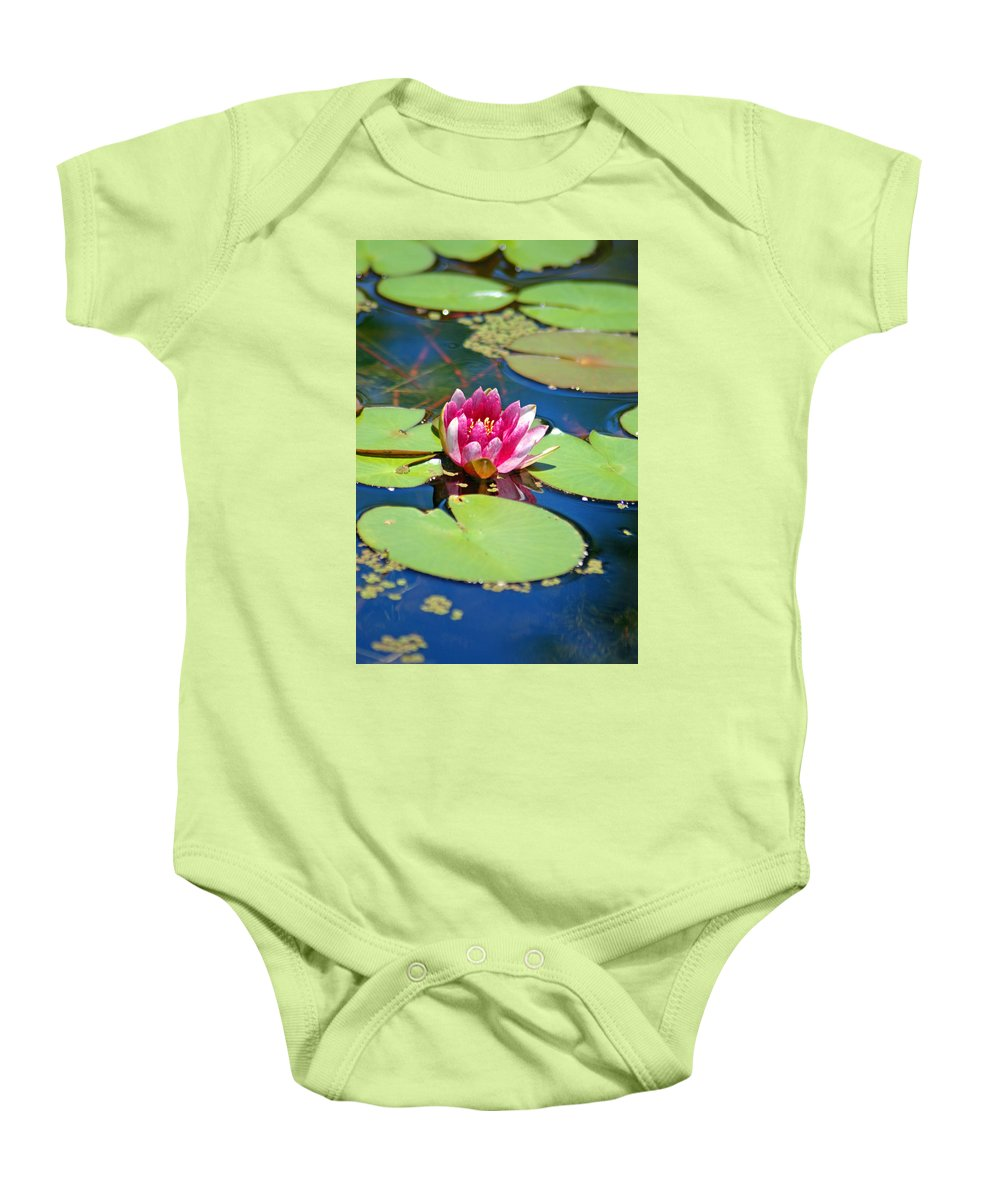 Lily Pond Baby Onesie featuring the photograph Lily Pond by Donna Bentley