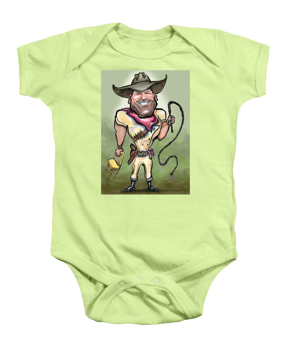 Liontamer Baby Onesie featuring the greeting card Liontamer by Kevin Middleton