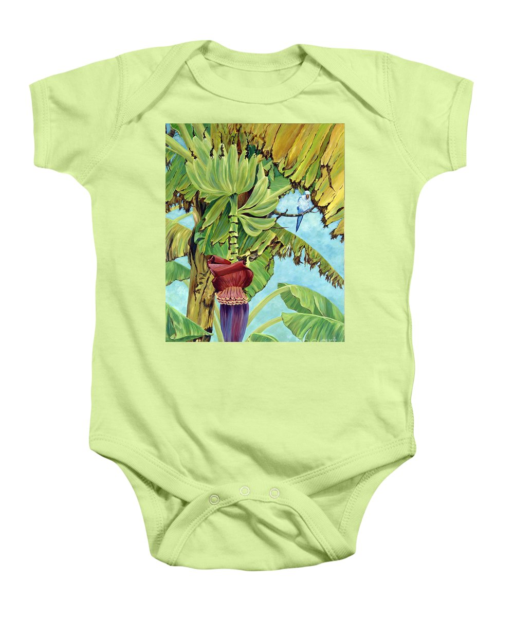 Tropical Baby Onesie featuring the painting Little Blue Quaker by Danielle Perry