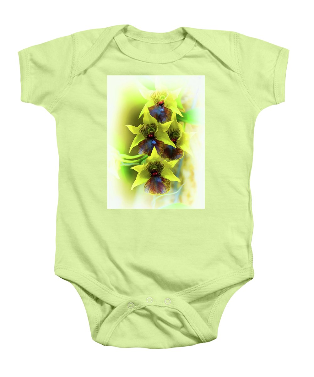 Little Green Apple Orchid On White Baby Onesie featuring the photograph Little Green Apple Orchid On White by Don Columbus