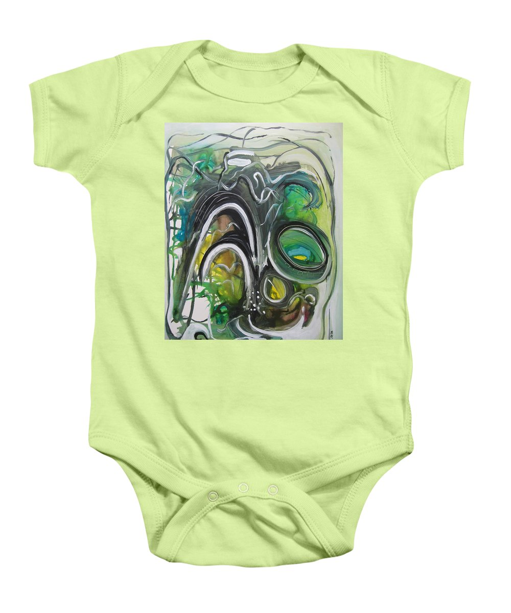 Abstract Paintings Baby Onesie featuring the painting little impression on Alexander trail by Seon-Jeong Kim