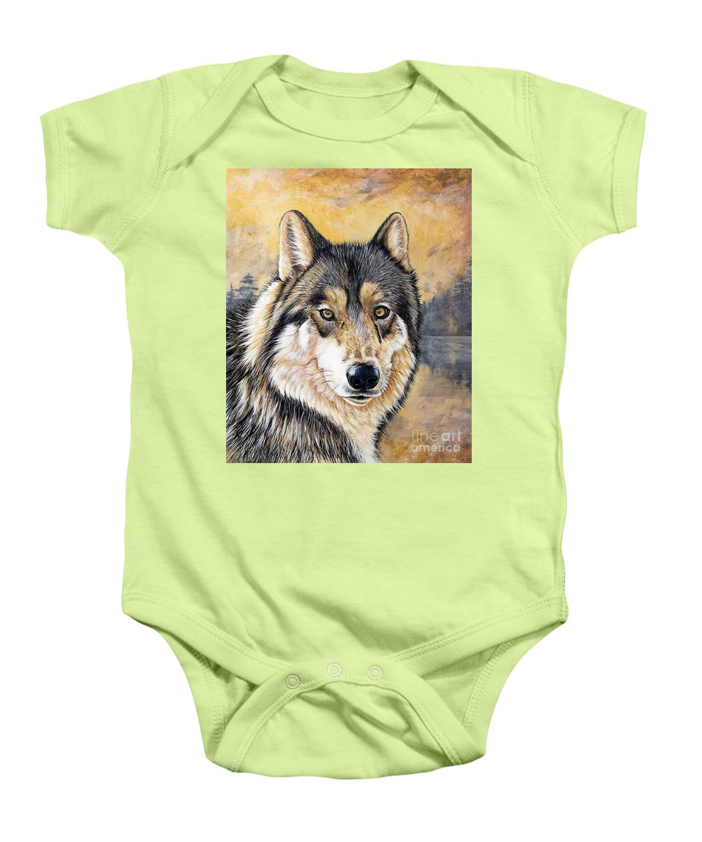 Acrylics Baby Onesie featuring the painting Loki by Sandi Baker