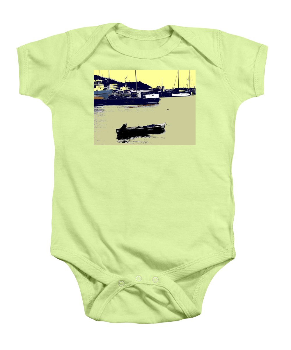 St Kitts Baby Onesie featuring the photograph Lone Boat by Ian MacDonald