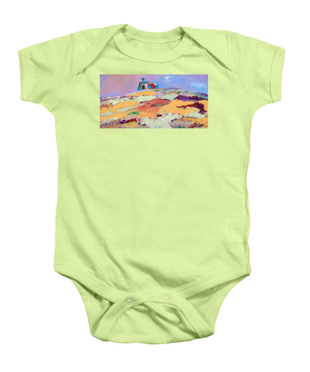 Southwestern Baby Onesie featuring the painting Lone Church by Tracy Miller