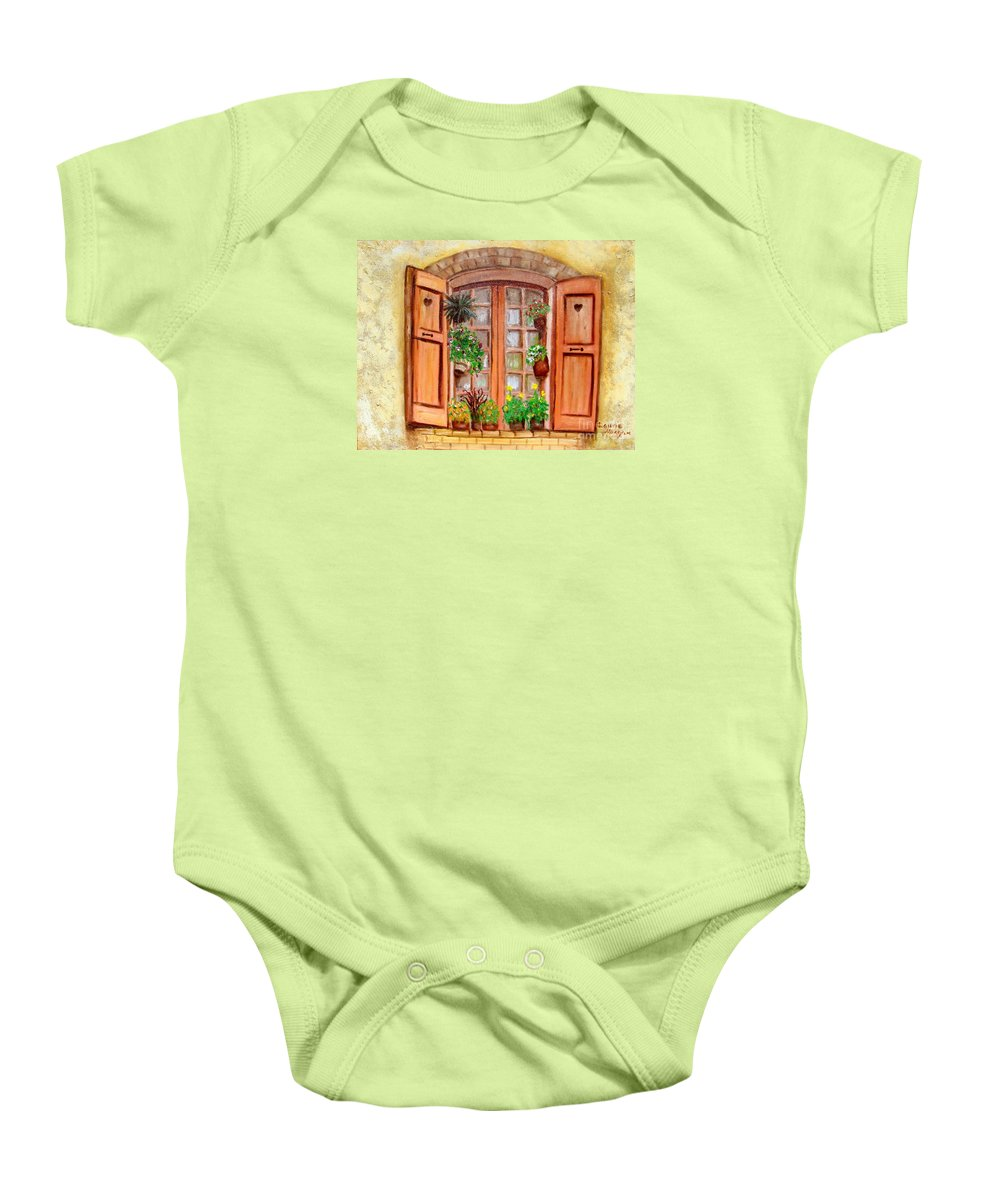 Windows Baby Onesie featuring the painting Love Nest by Laurie Morgan