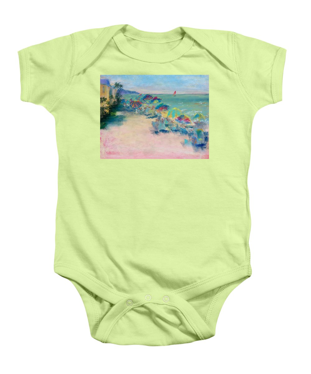 Lowdermilk Park Baby Onesie featuring the painting Lowdermilk Park by Laurie Paci