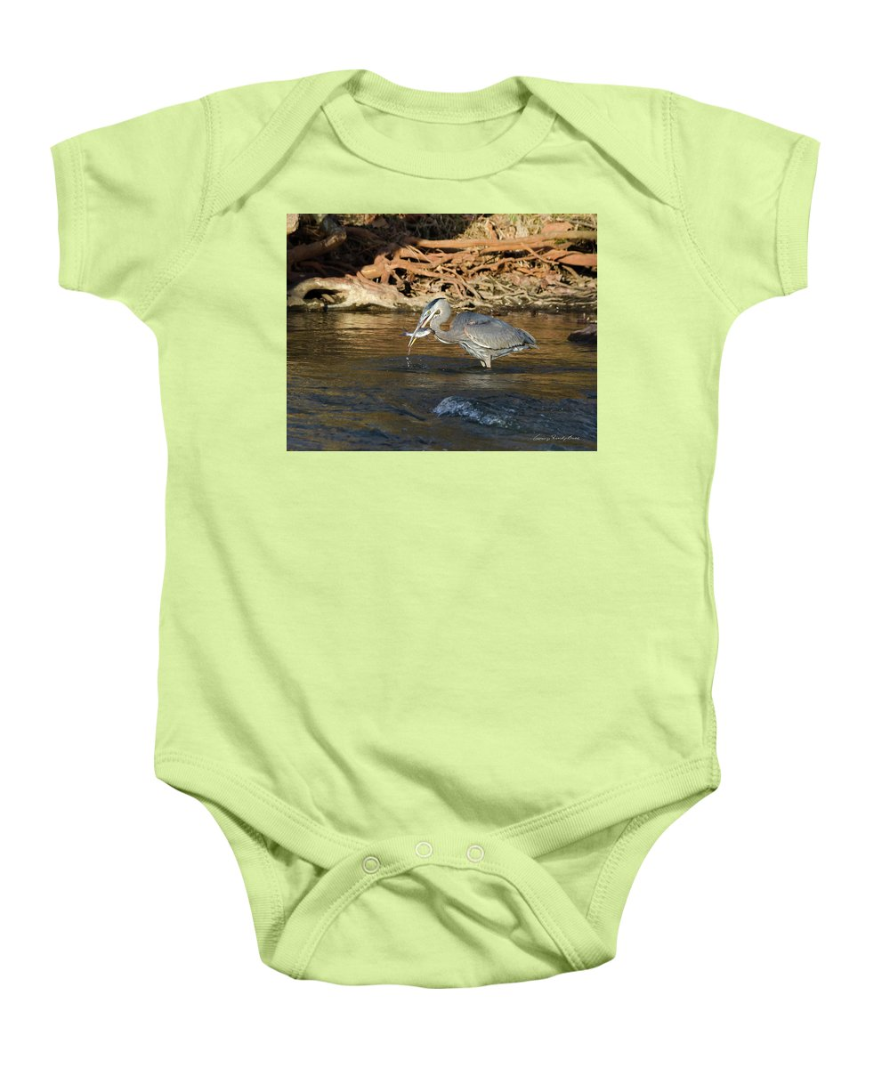 Heron Baby Onesie featuring the photograph Lunch On The Neuse River by George Randy Bass