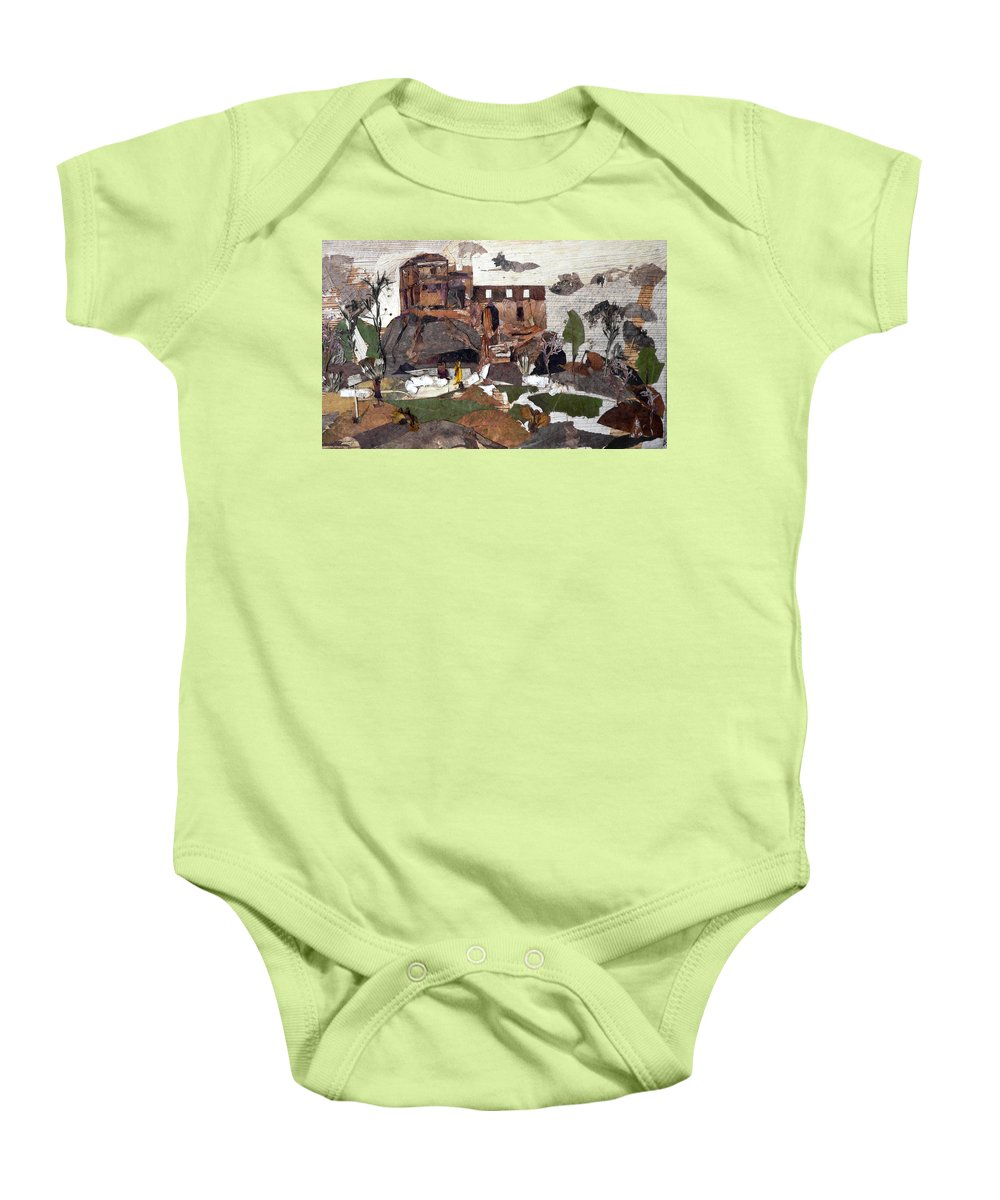Palace Made By King Madan Shah Baby Onesie featuring the mixed media Madan Mahal by Basant Soni