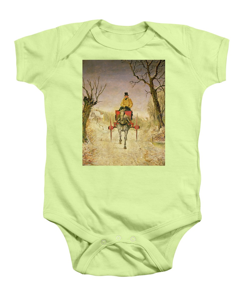 Mail Cart Baby Onesie featuring the painting Mail Cart Christmas by R R Ripley