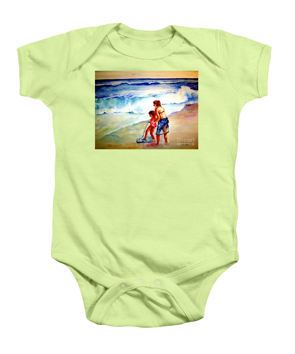 Beach Surf Baby Onesie featuring the painting Making A Memory by Sandy Ryan