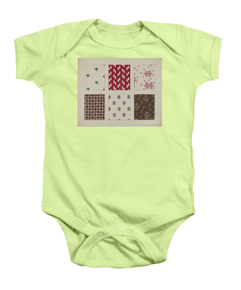 Baby Onesie featuring the drawing Materials From Quilt by Dorothy Posten