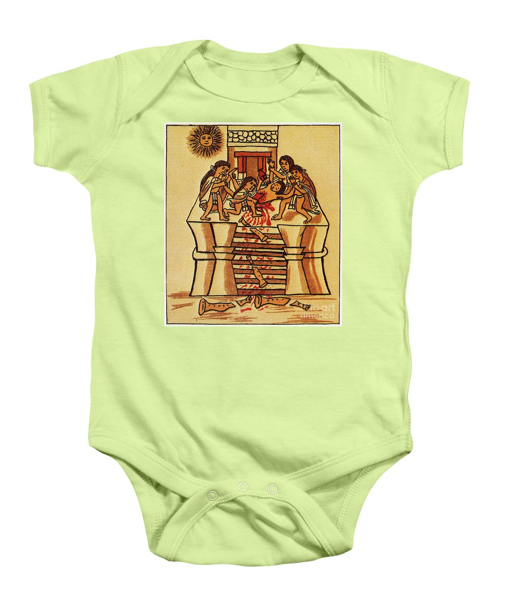 16th Century Baby Onesie featuring the photograph Mexico: Aztec Sacrifice by Granger