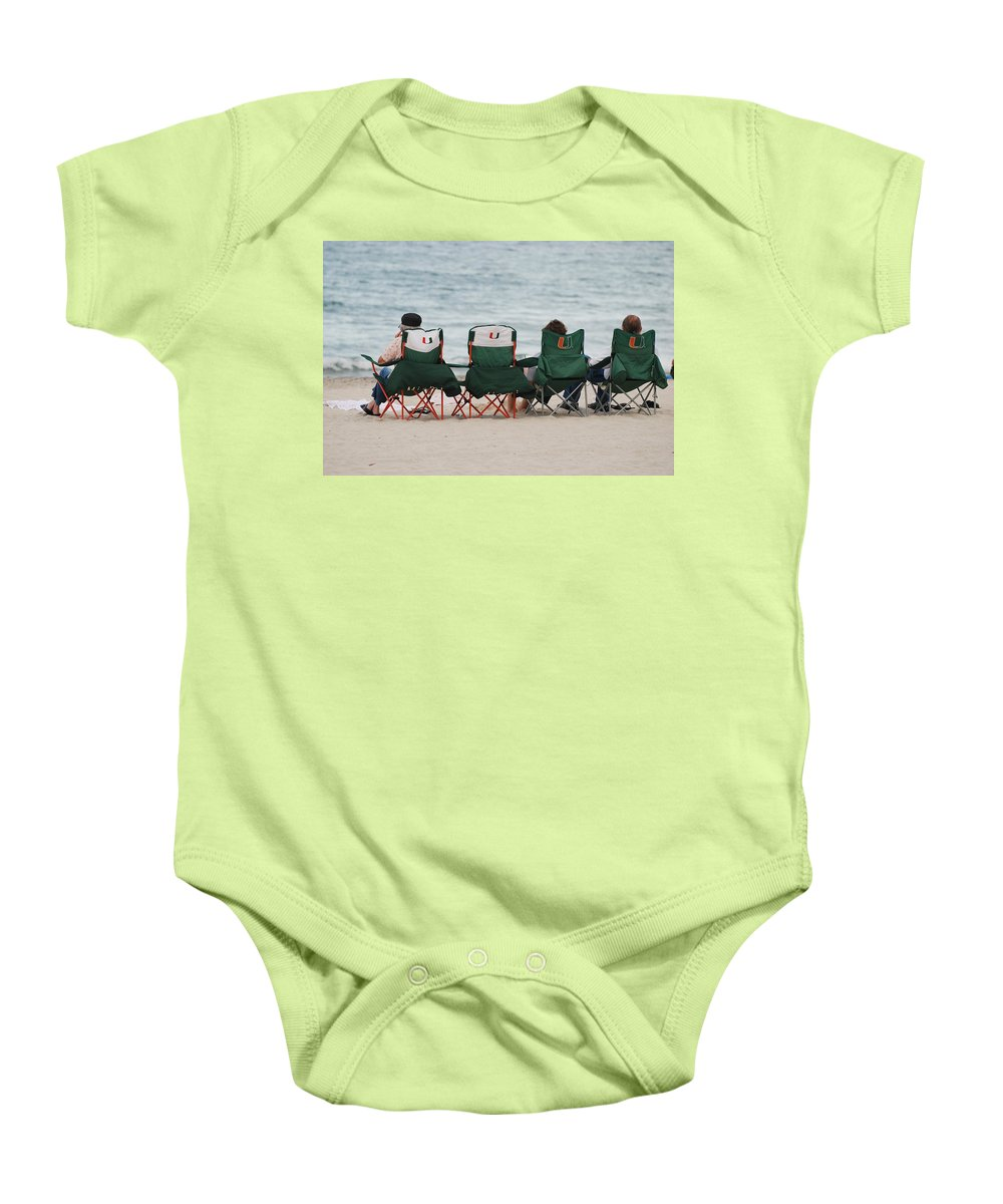 University Of Miami Baby Onesie featuring the photograph Miami Hurricane Fans by Rob Hans