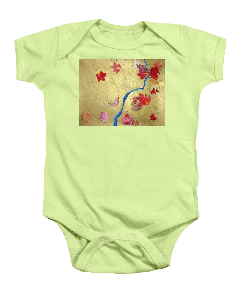 Abstract Baby Onesie featuring the painting Midas Fall by Steve Karol