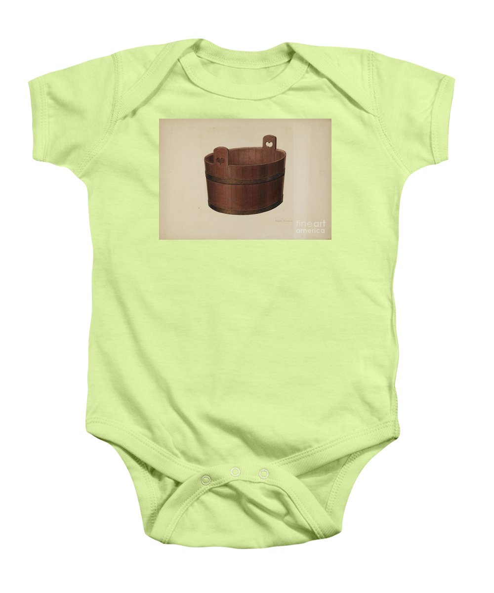 Baby Onesie featuring the drawing Milk Tub by Ralph Russell