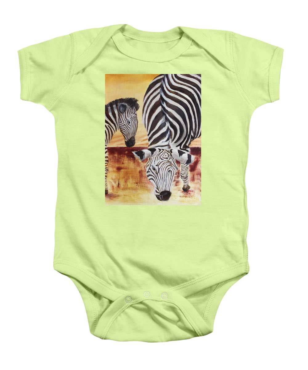 Animal Baby Onesie featuring the painting Momma And Baby by Todd Blanchard