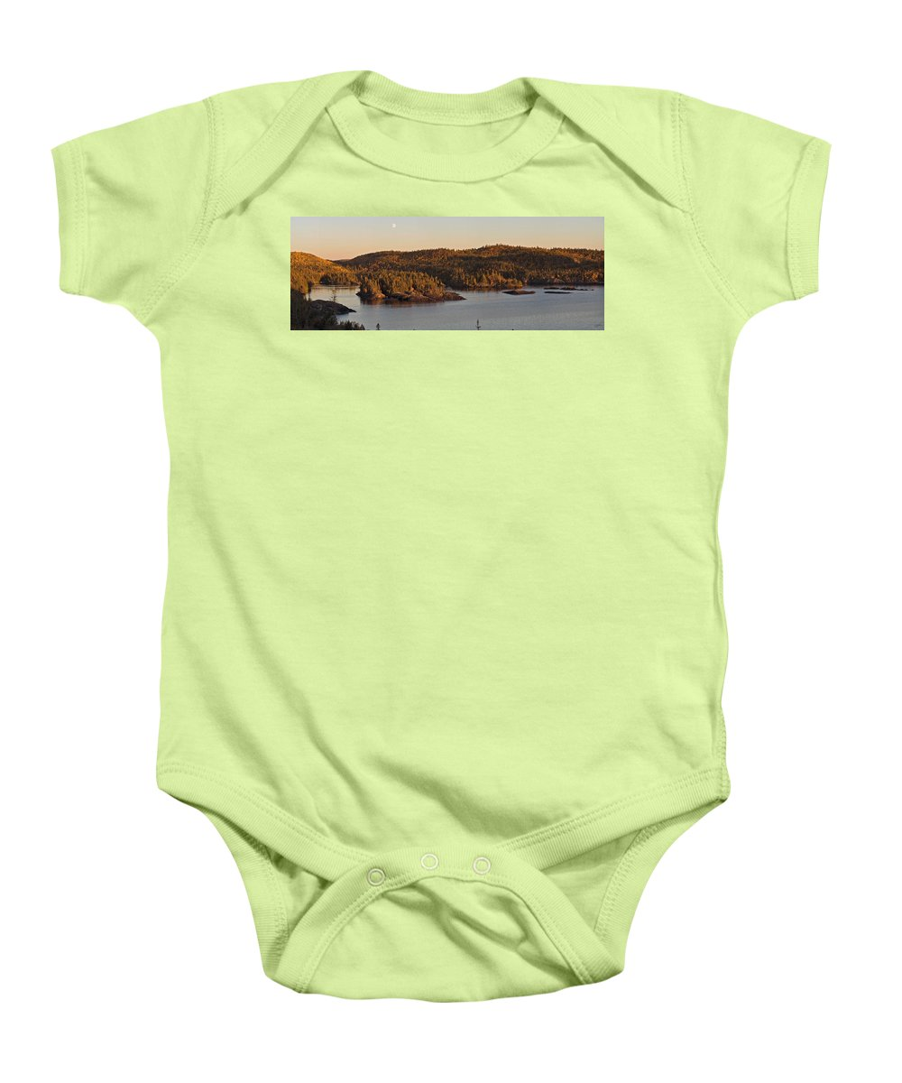 Panorama Baby Onesie featuring the photograph Moon Rise Over Pukaskwa by Doug Gibbons