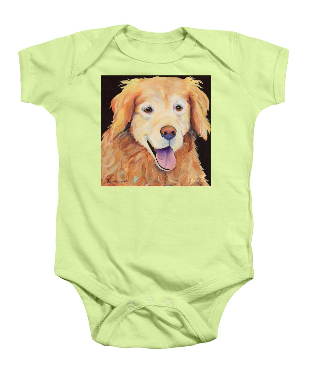 Pet Portraits Baby Onesie featuring the painting Moose by Pat Saunders-White