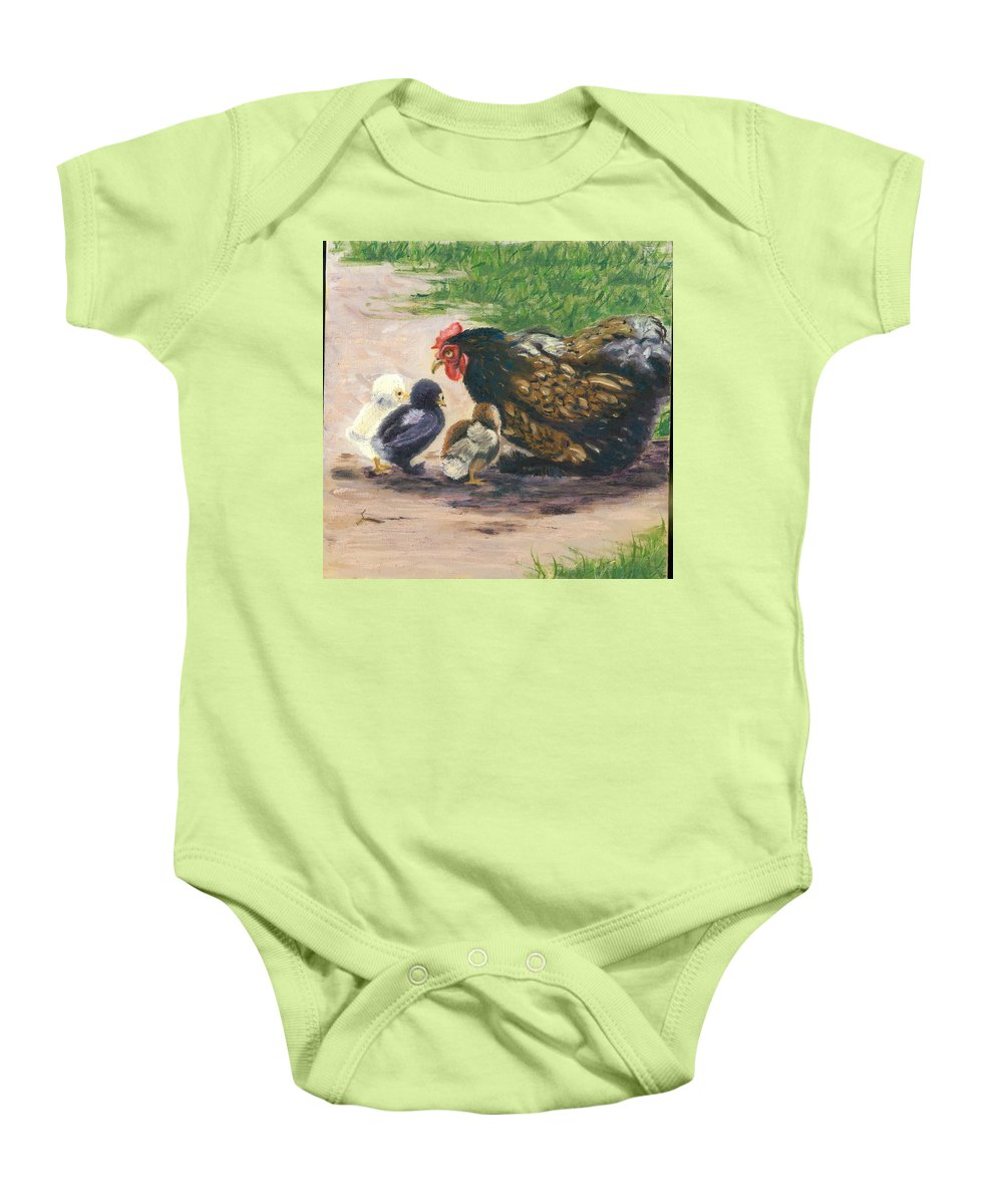 Chickens Baby Onesie featuring the painting More Of Life by Paula Emery