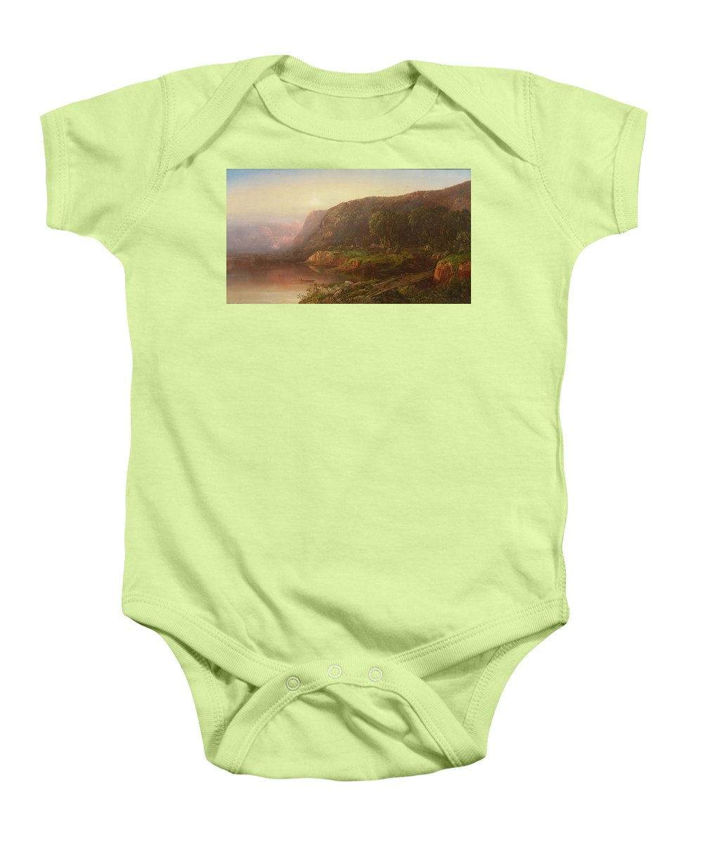 William Louis Sonntag 1822 - 1900 Mountain Scene On The Ohio River Baby Onesie featuring the painting Mountain Scene On The Ohio River by William Louis