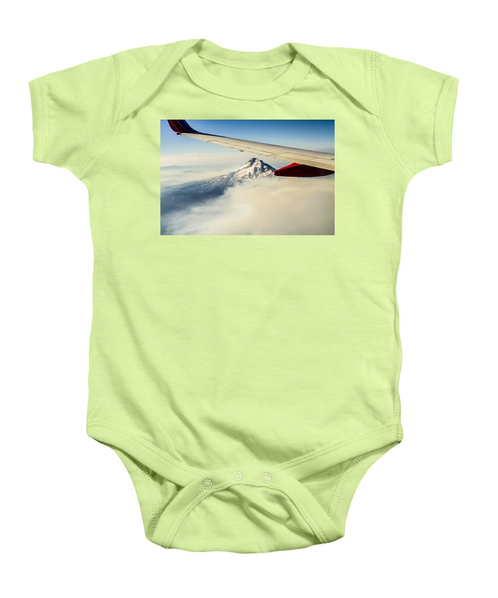 John Trax Baby Onesie featuring the photograph Mt Hood Aerial View by John Trax