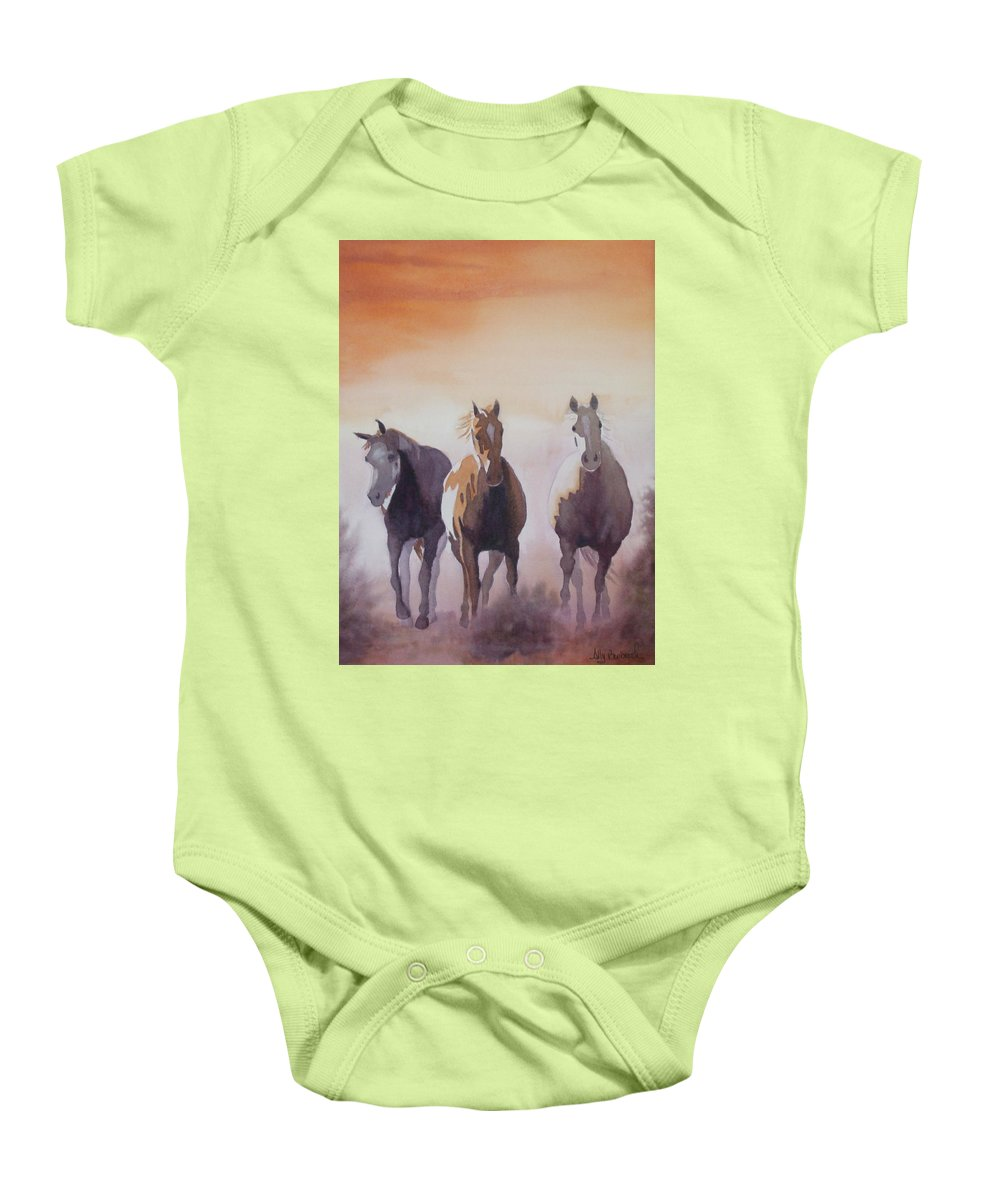 Horse Baby Onesie featuring the painting Mustangs Out Of The Fire by Ally Benbrook