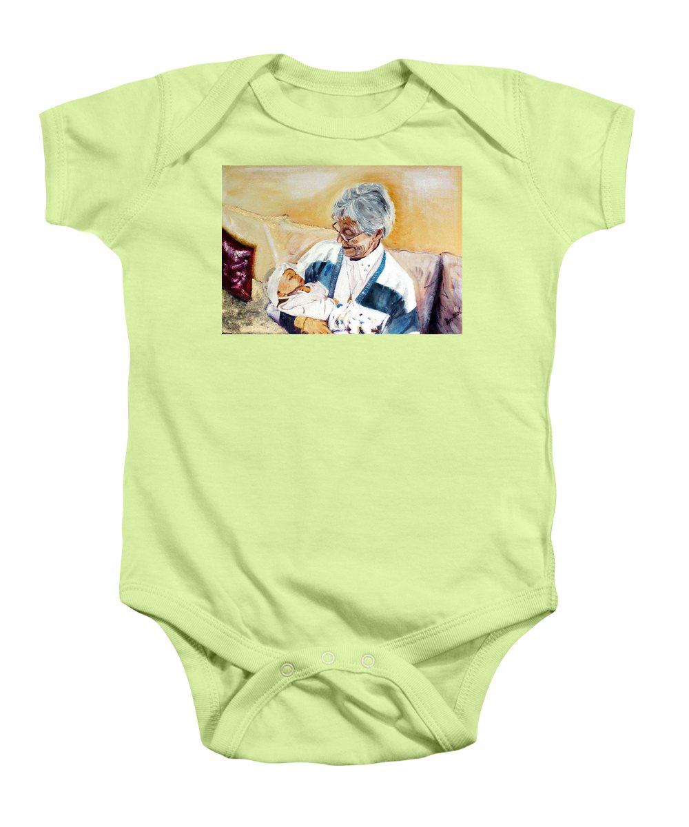 Portrait Baby Onesie featuring the painting my granddaughter Leonie with her great grandmum by Helmut Rottler