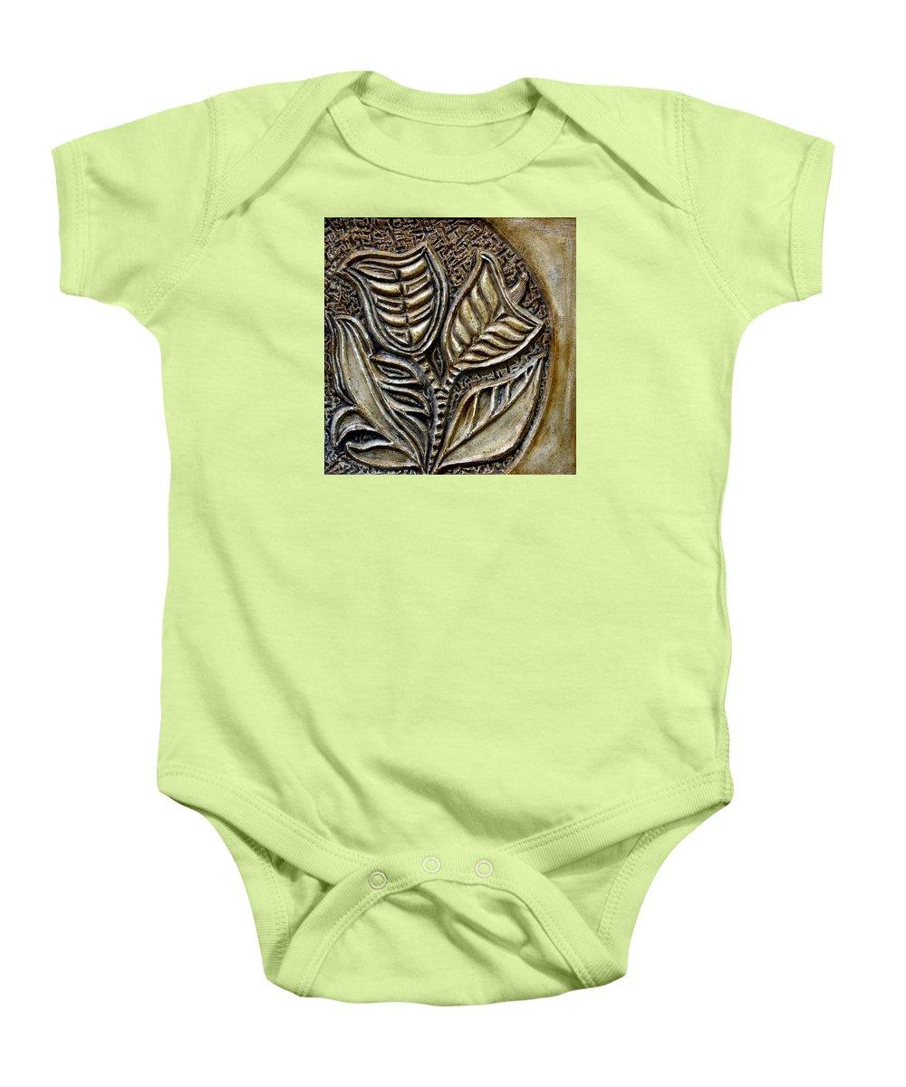 Vintaje Baby Onesie featuring the relief Vintaje Tile With Calas by Madalena Lobao-Tello