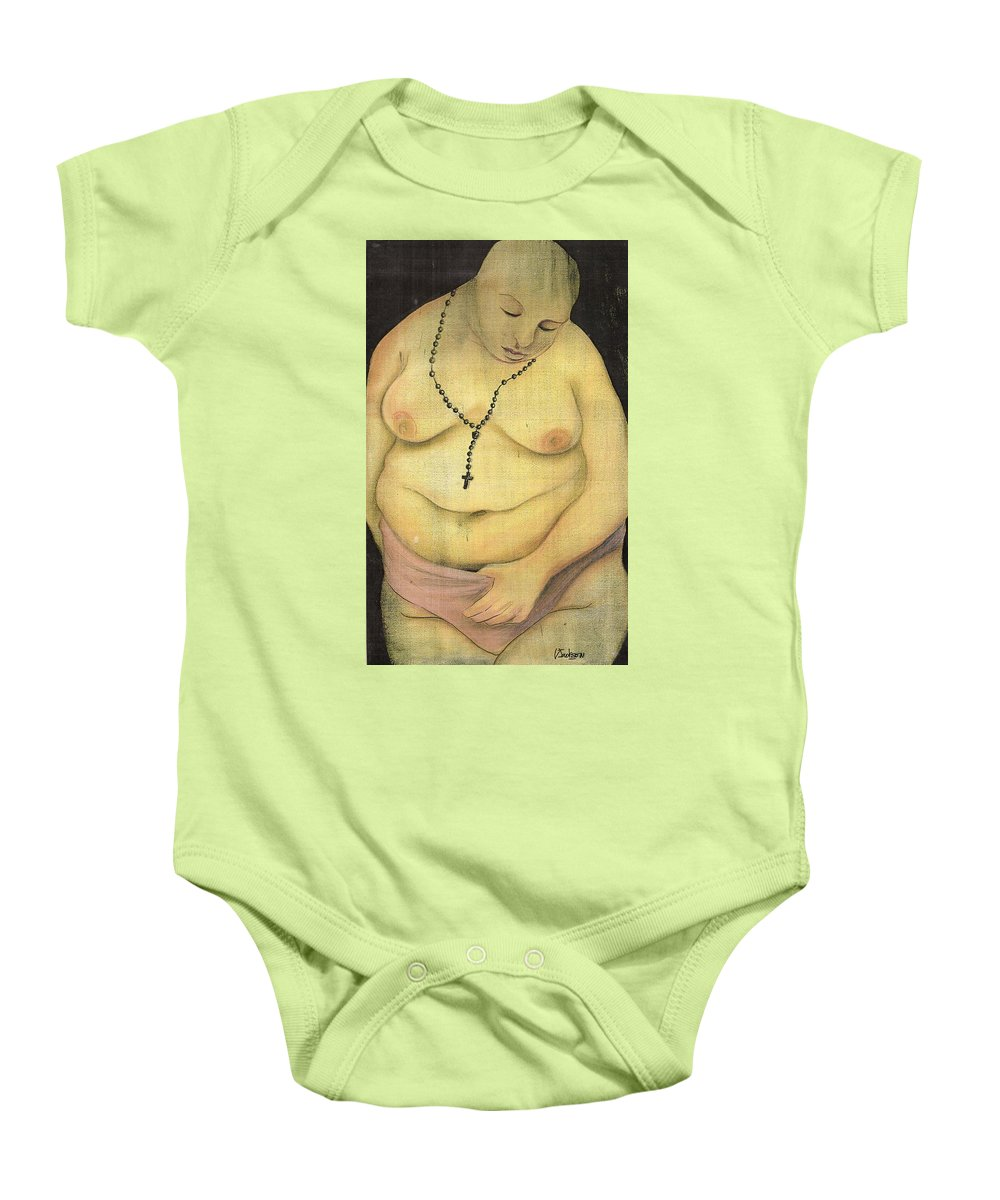 Religion Faith Strugle Conflict Lust Nature Baby Onesie featuring the mixed media Nature Contradicted by Veronica Jackson