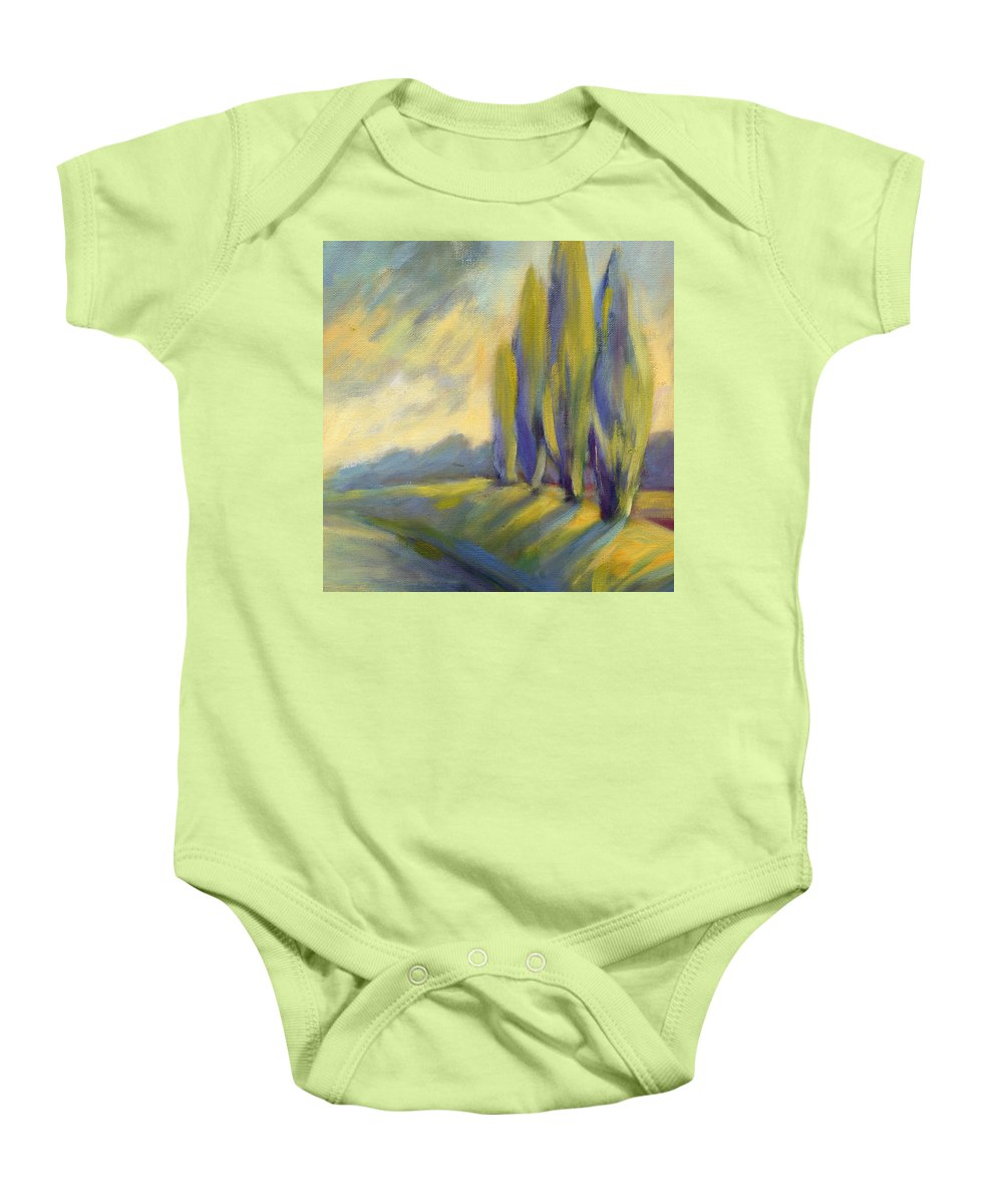 Trees Baby Onesie featuring the painting New Beginning 3 by Konnie Kim