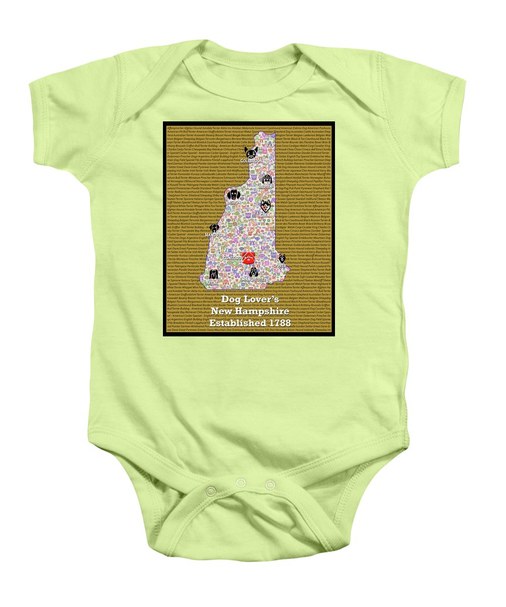 Afghan Baby Onesie featuring the digital art New Hampshire Loves Dogs by Bradley Bennett
