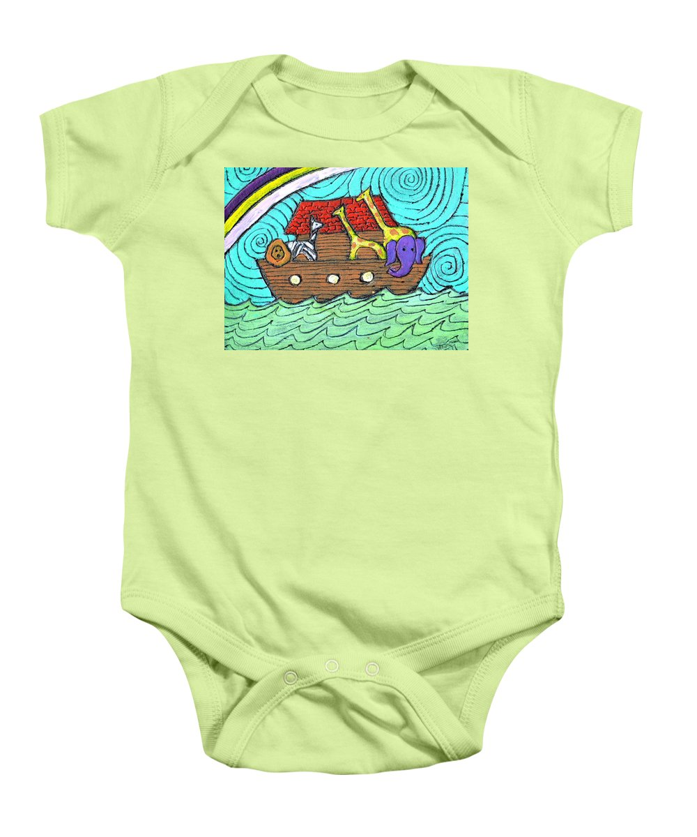 Children's Baby Onesie featuring the painting Noahs Ark Two by Wayne Potrafka