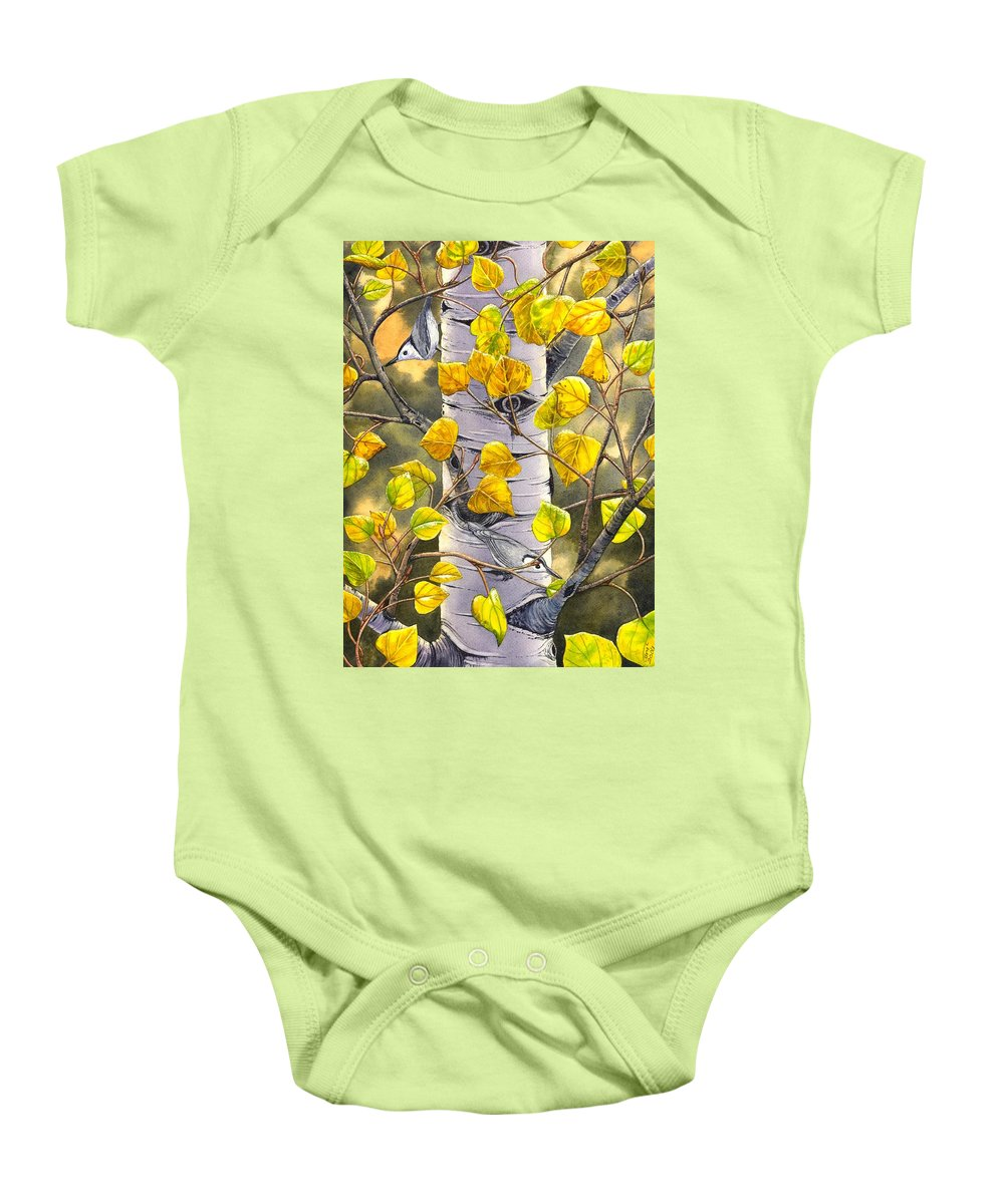 Nuthatch Baby Onesie featuring the painting Nuthatches by Catherine G McElroy