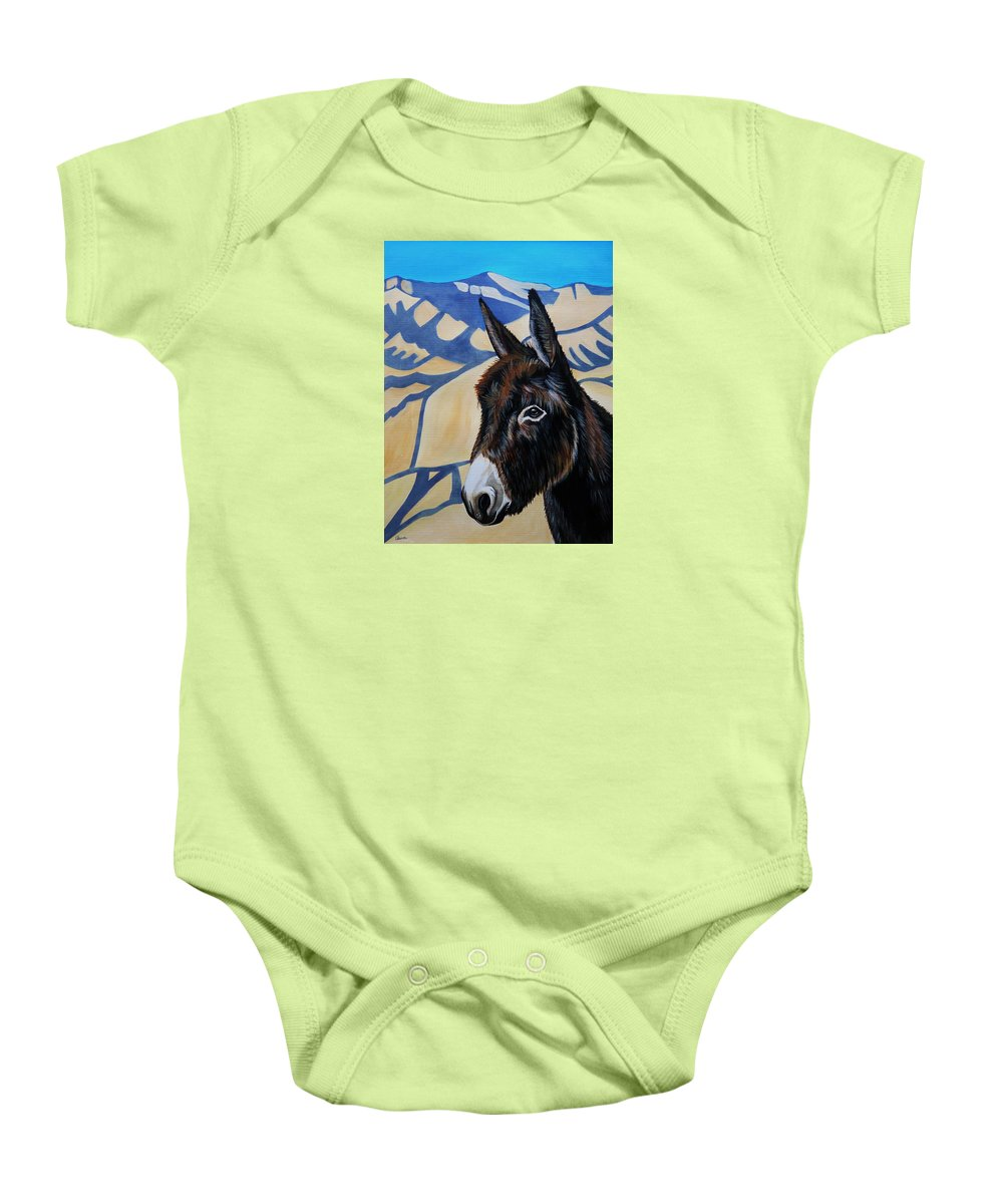Burro Baby Onesie featuring the painting Oatman Arizona by Lucy Deane