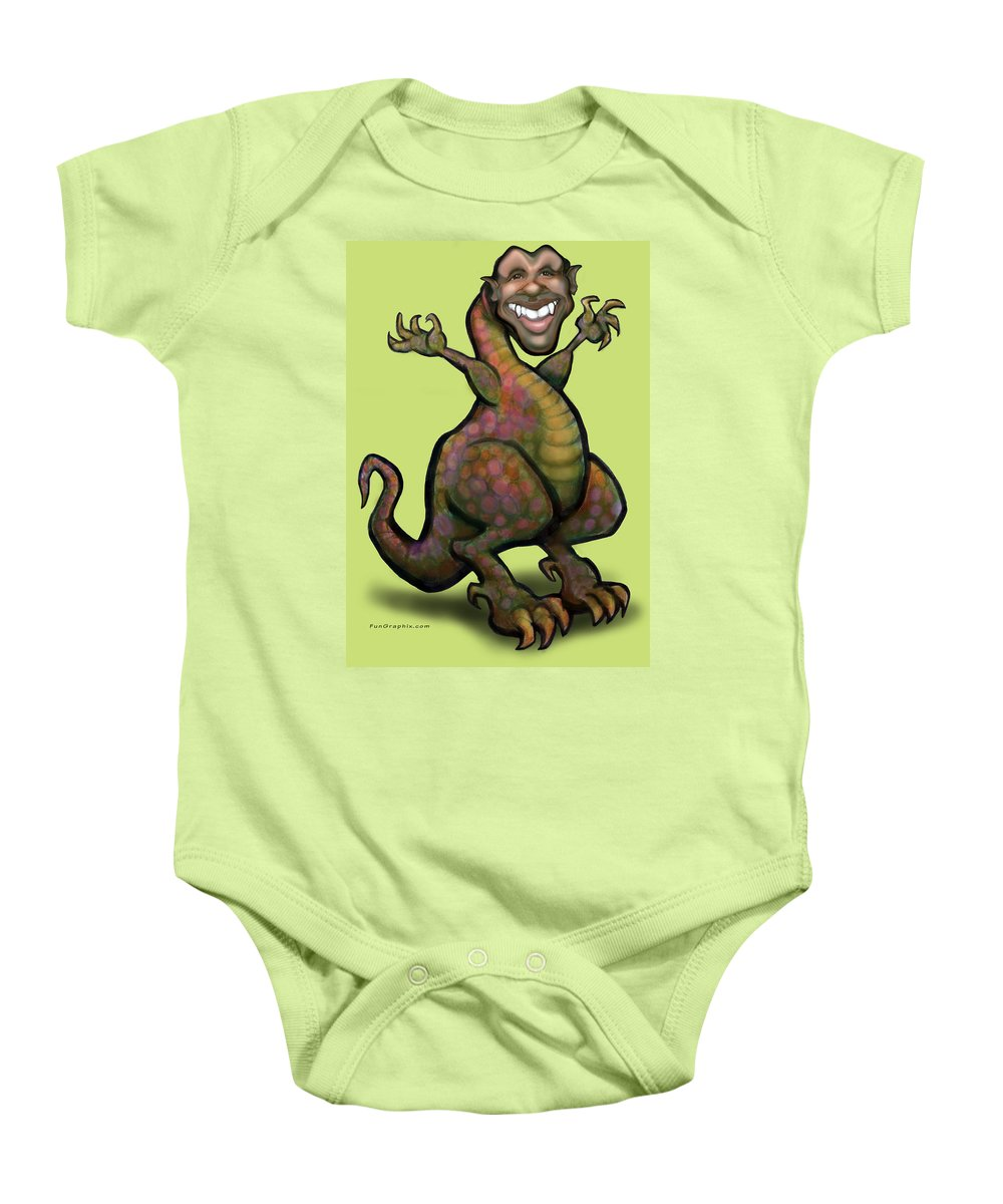 Barack Obama Baby Onesie featuring the greeting card Obama Saurus Rex by Kevin Middleton