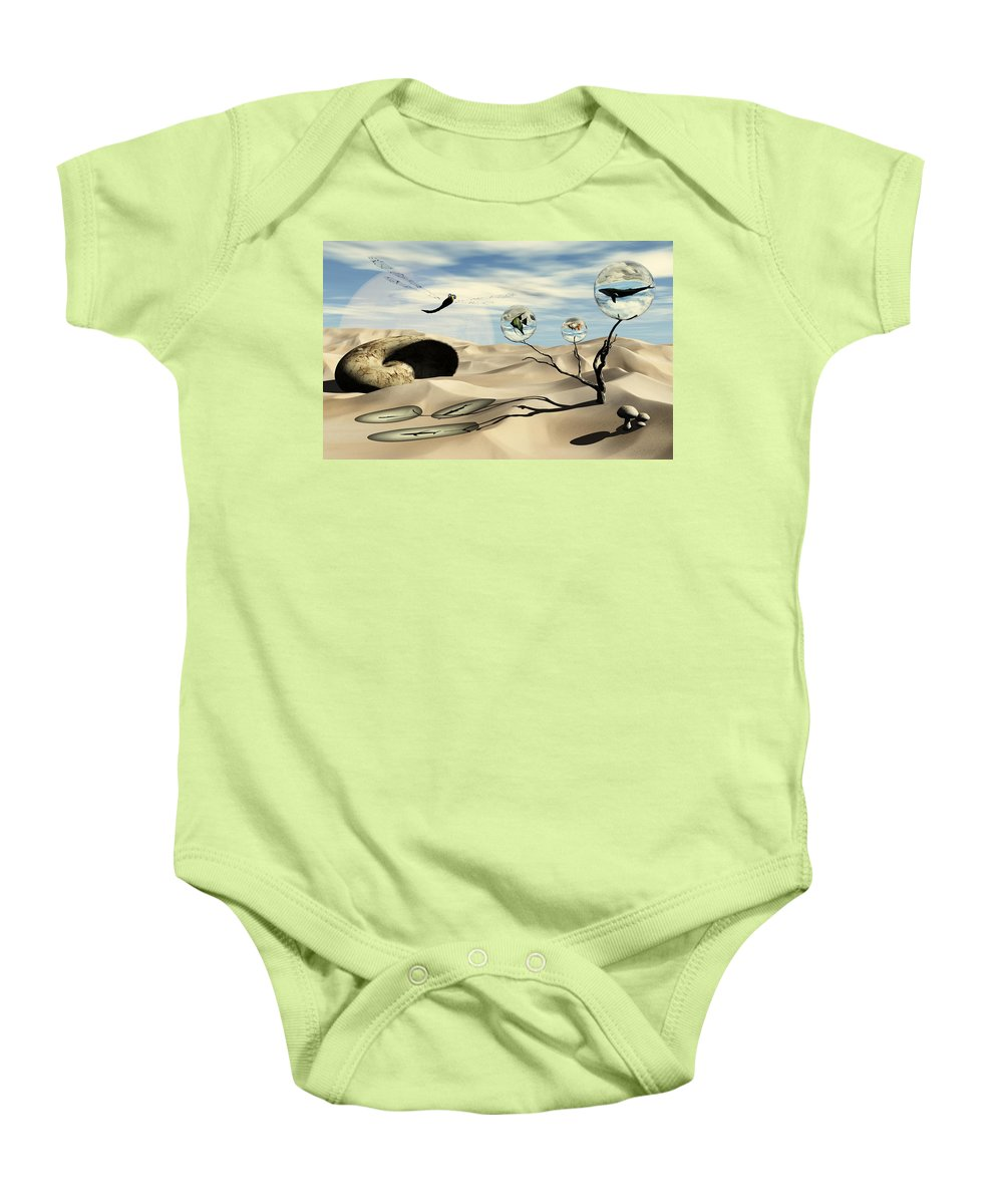 Surrealism Baby Onesie featuring the digital art Observations by Richard Rizzo