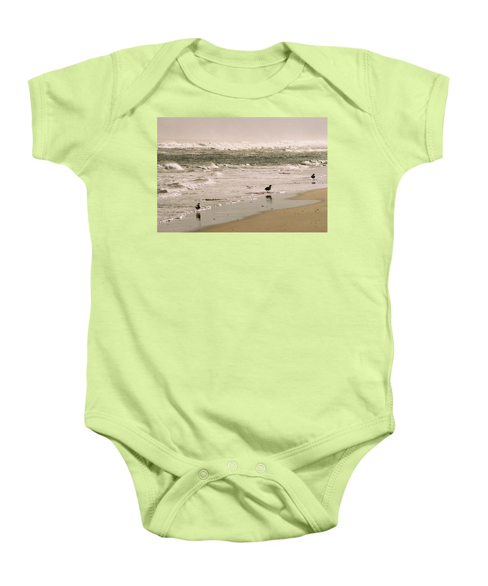 Seascape Baby Onesie featuring the photograph Ocean Edge by Steve Karol