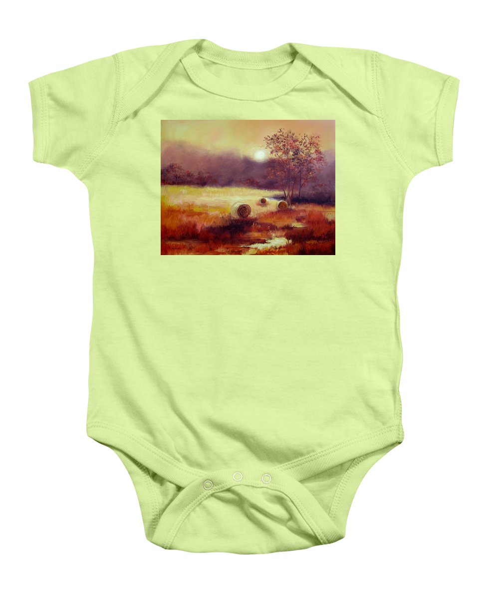 Fall Landscapes Baby Onesie featuring the painting October Pasture by Ginger Concepcion