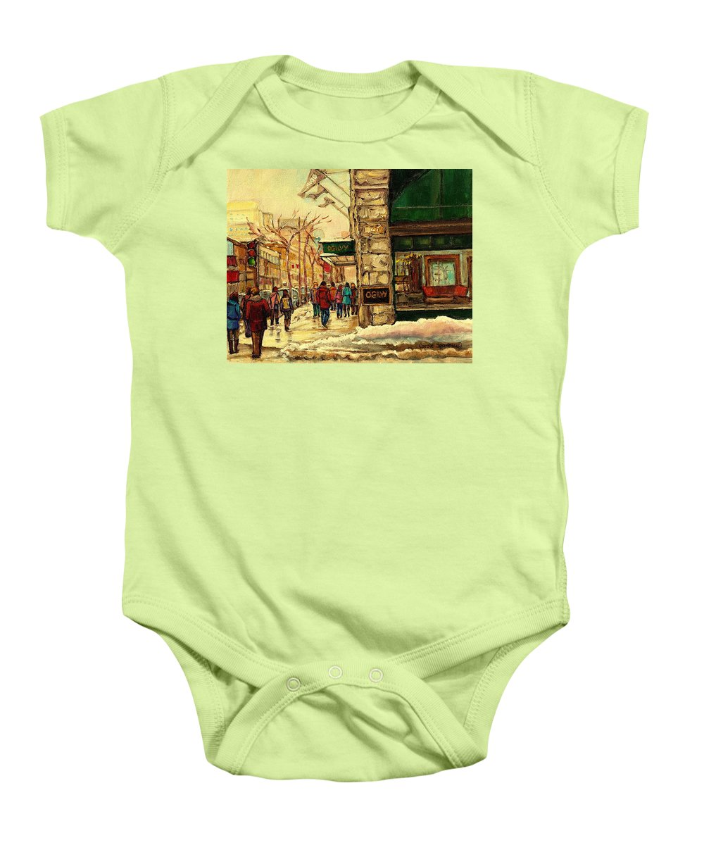 Ogilvys Department Store Baby Onesie featuring the painting Ogilvys Department Store Downtown Montreal by Carole Spandau