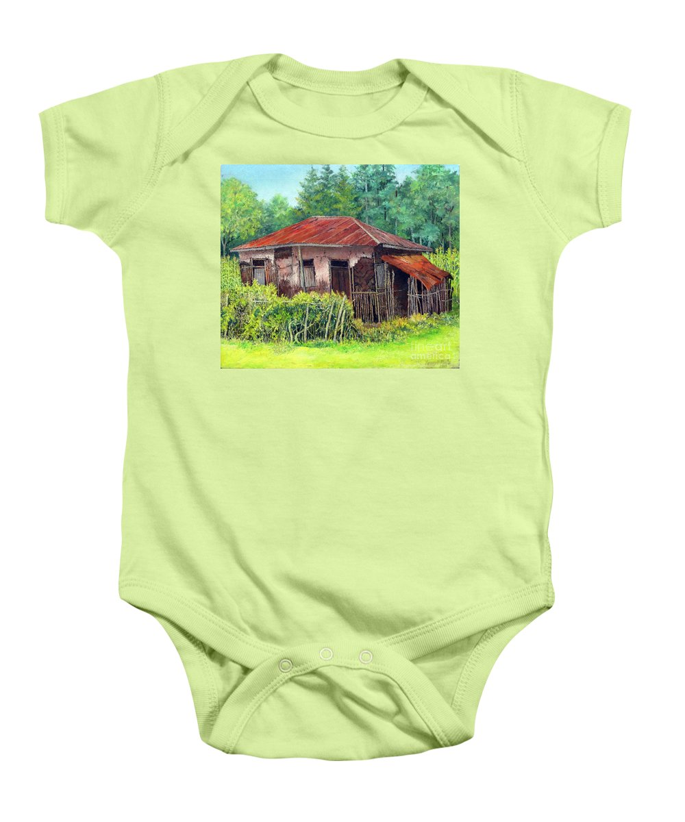Old Baby Onesie featuring the painting Old House by Yoseph Abate