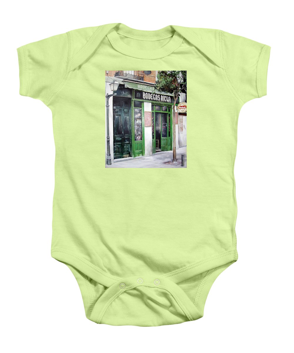 Bodegas Baby Onesie featuring the painting Old Tavern-madrid by Tomas Castano