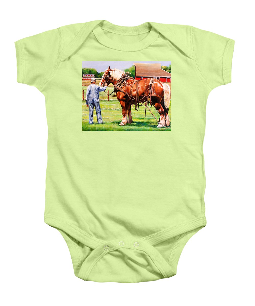 Belgian Baby Onesie featuring the painting Old Timers by Toni Grote